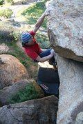 Rock Climbing Photo: The finishing jug on Overhung