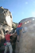 Rock Climbing Photo: Making the crux reach up to better holds on Pink B...