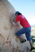 Rock Climbing Photo: Pulling hard on the razor sharp holds on Pink Bug.