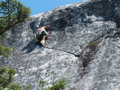 Rock Climbing Photo: Joe at the Crux of Talking Crack 5.7