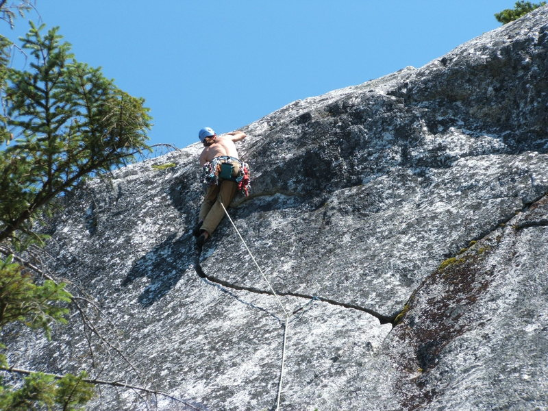 Rock Climbing Photo: Joe topping out on Talking Crack 5.7