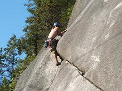 Rock Climbing Photo: Joe pulls the roof! Easter Island 5.8