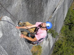 Rock Climbing Photo: Joe cleaning on Diedre 5.8