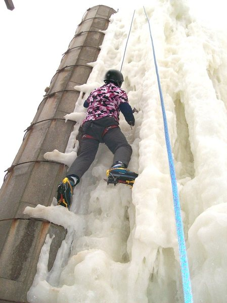 Melting ice still fun to climb.