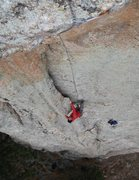 Rock Climbing Photo: Justin at the beginning of the prominent flake on ...