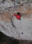 Rock Climbing Photo: Justin at the bottom of the overhanging crux secti...