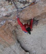 Rock Climbing Photo: Justin grabs a quickdraw -- weak!!  OK, he's just ...
