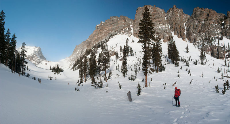 Panorama view from Andrews Creek looking up at Wham Couloir.