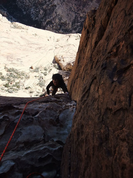 approaching the P3 belay