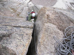 Rock Climbing Photo: My partner finishing the OW pitch on Pevertical.