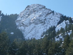 Rock Climbing Photo: Snow covered rock on 1st flatiron taken after asce...
