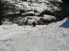 Rock Climbing Photo: Kimberly following 1 pitch of Silk Road