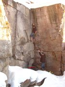 Rock Climbing Photo: Chad Witbeck chalking up for the crux. Downclimbin...