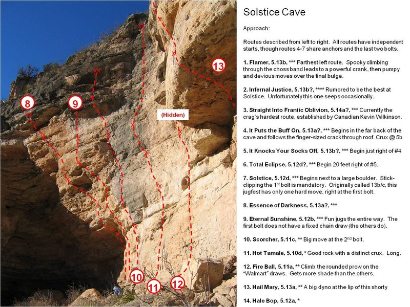 """The right half of the Solstice Cave.  There are some new lines and lots of silly linkups since this topo was drawn.<br> <br> Note that the routes with a """"?"""" did not have confirmed grades at the time this was created.  Expect those lines to be anywhere from 2-4 letter grades over-rated, as was the case with the routes in the cave that I climbed.  Routes without """"?""""'s are """"confirmed"""" at that grade, but don't expect them to match what you see on KW's 8a.nu scorecard."""