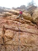 Rock Climbing Photo: Tina nearing the roof crux on the FA.