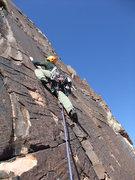 Rock Climbing Photo: Dow starting up P3 (original route)