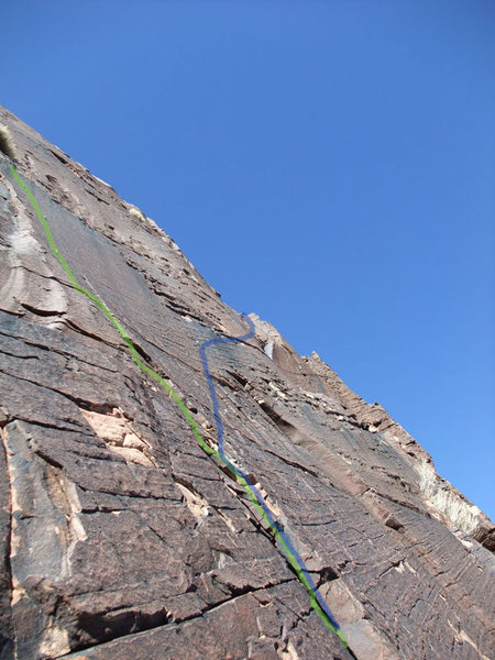Rock Climbing Photo: P3 original route (blue) and variation (green).