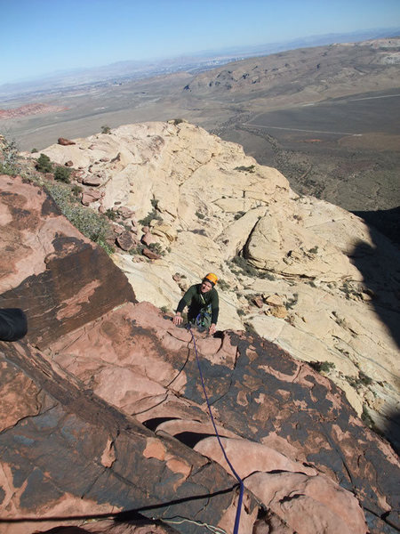 Rock Climbing Photo: Dow topping out on P2.