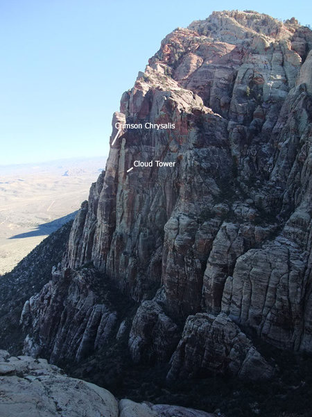 Rock Climbing Photo: Crimson Chrysalis and Cloud Tower from Brownstone ...
