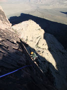 Rock Climbing Photo: Dow about to top out on P4
