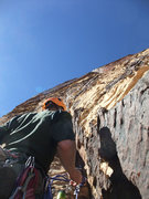 Rock Climbing Photo: Dow at the base of P2 (blocking the dihedral).
