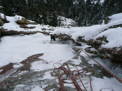 Rock Climbing Photo: Looking down second pitch past large flake.  The c...