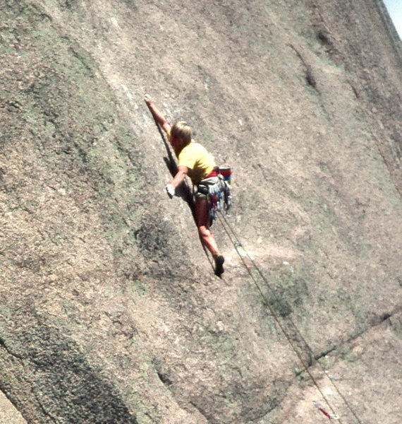 Noel Childs near the crux of Mister Mantle on Block Tower. Photo: Olaf Mitchell.