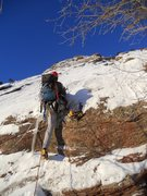 Rock Climbing Photo: First moves up thin ice sheet.