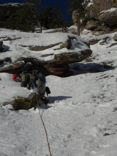 Rock Climbing Photo: A 60m rope stretcher to end the first pitch.