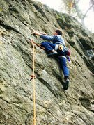 Rock Climbing Photo: 'Easily Ammused' 5.7 in freezing condition...