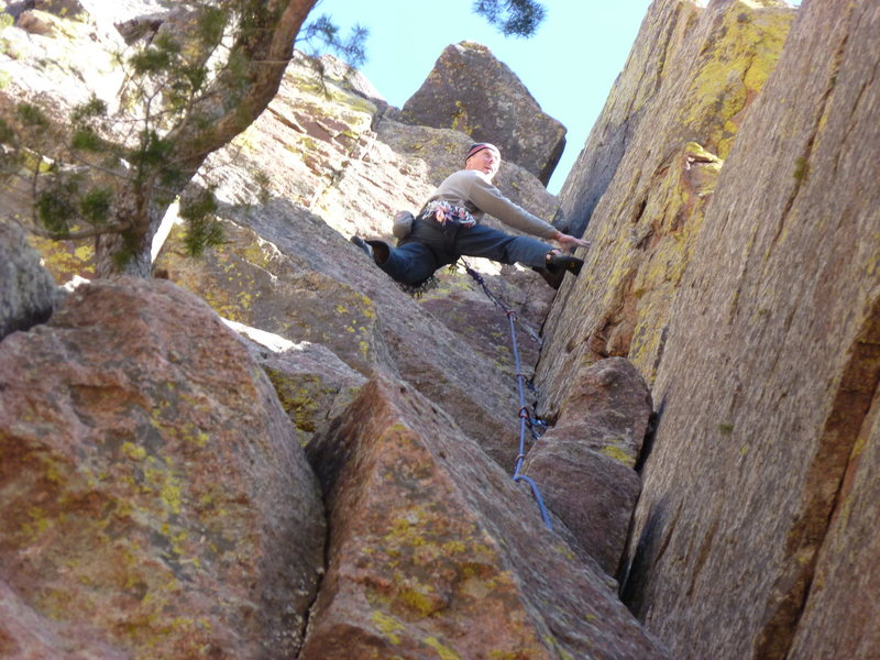 Rock Climbing Photo: You can see the squeeze chimney above and right of...