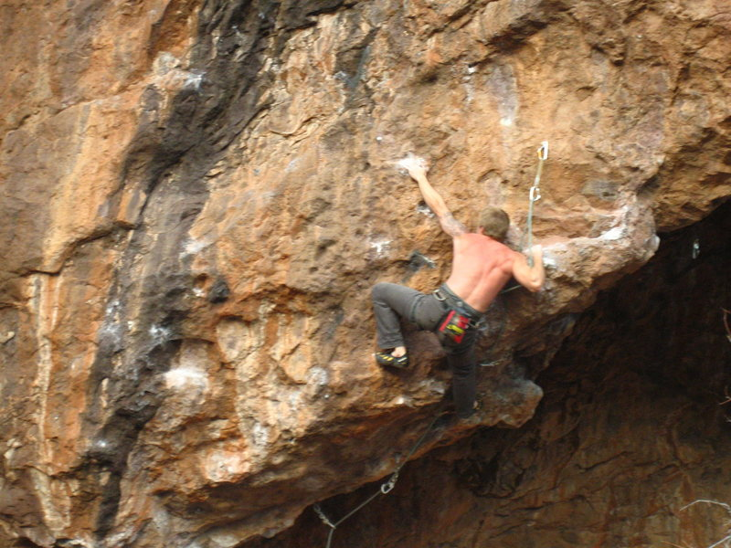 Rock Climbing Photo: Peter flipping the lip to begin the vertical porti...