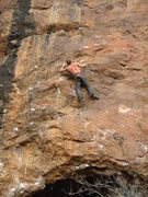 Rock Climbing Photo: Peter approaching the red point crux of Sinister D...