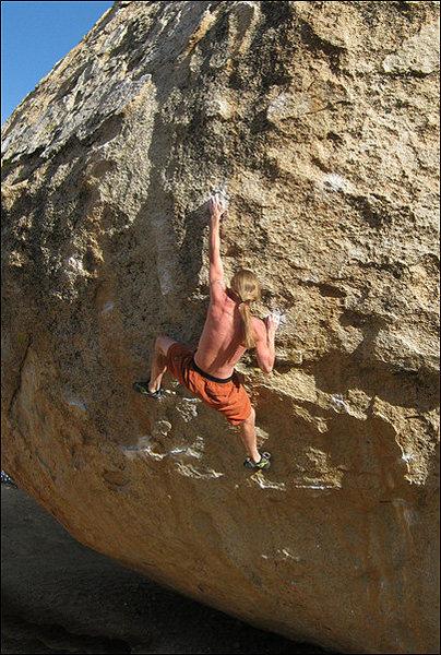 """Rock Climbing Photo: Chris Geis on """"High Plains Drifter"""" V6/7..."""