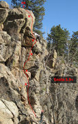 Rock Climbing Photo: Approximate route & bolt locations for Enola (The ...