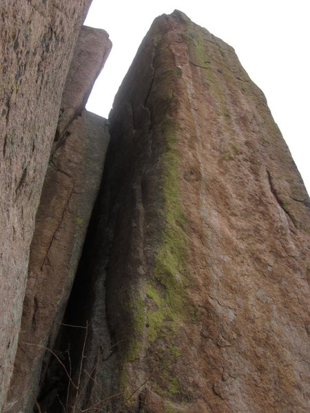Rock Climbing Photo: Start in the chimney, then move out on to the face...