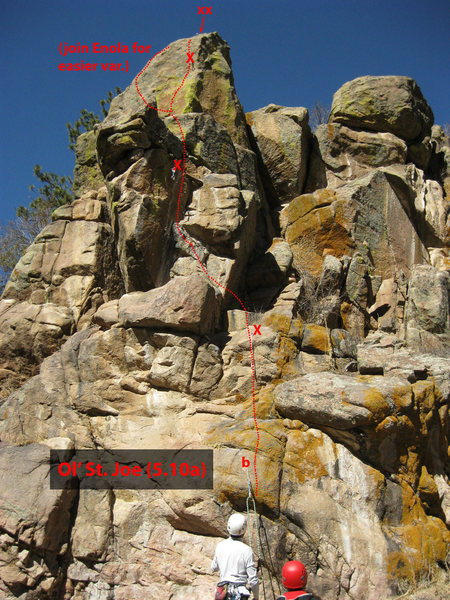 Rock Climbing Photo: Approximate bolt locations & route for Ol' St. Joe...