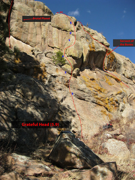 Approximate route & bolt (x) / piton (p) locations (one bolt, before the anchor, is out of view) of Grateful Head at Dance Hall of the Dead.