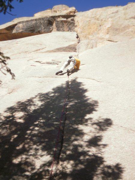Rock Climbing Photo: Finishing up the hard moves.