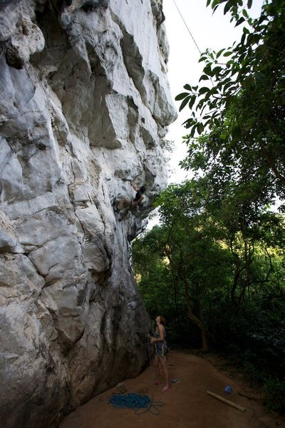 Rock Climbing Photo: Ram at about the 3rd bolt pushing through the stee...