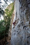 Rock Climbing Photo: Anja gaining the crack above the boulder crux star...