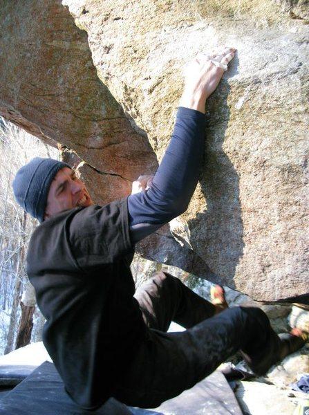 Dan Bates on the core intensive finishing, feet cut sloper move.