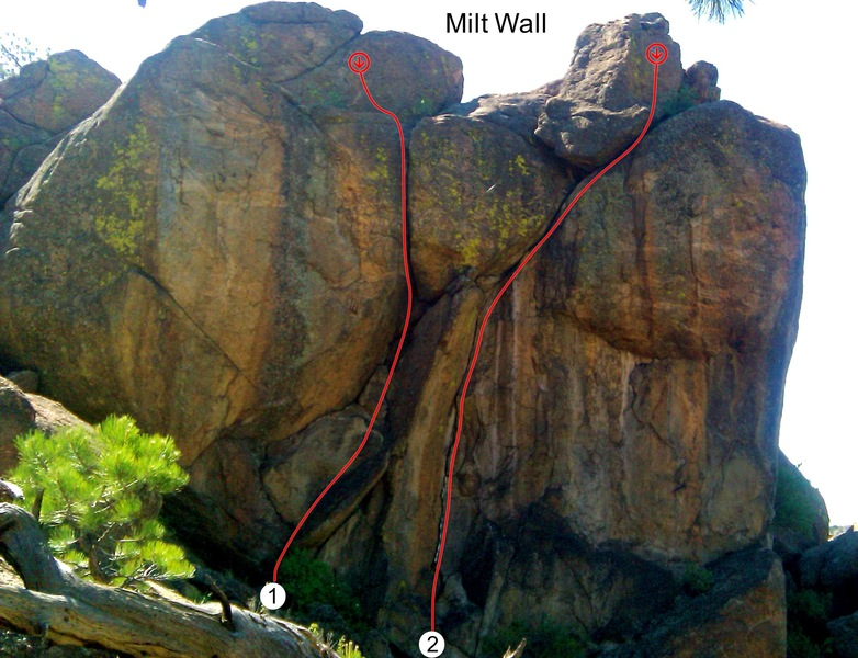 Leftover, 5.10c, is the steep crack on the left and the right-facing corner on the right is called the Rightover, 5.10c.