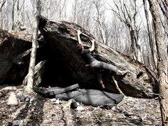 Rock Climbing Photo: Cannonade, v2, Belgrano Blade, Right Boneyard.