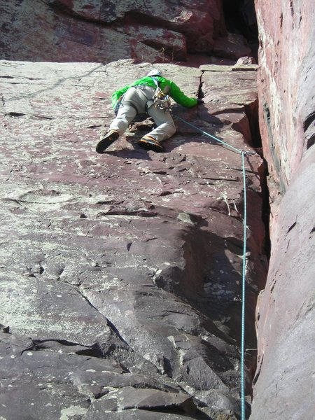 Rock Climbing Photo: Jon J. moves out left on Boyscout lead making cont...