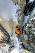 Rock Climbing Photo: Nate Erickson on the finish of 10% Real. Feb '011.