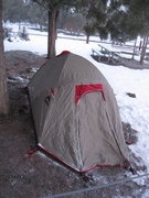 Rock Climbing Photo: Tent in the snow after the first route