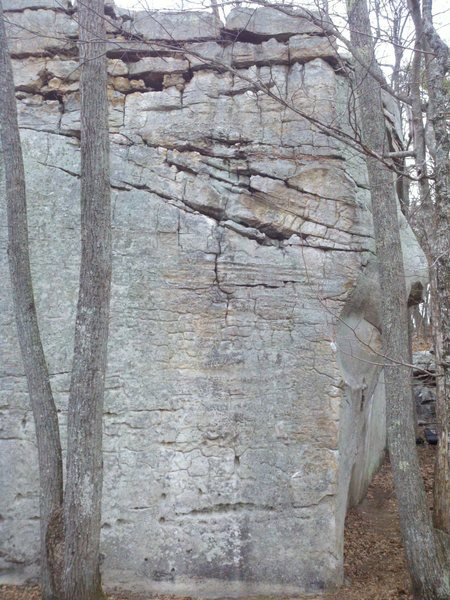 The tall E face of the Tristar boulder showing Block and Tackle.  Climb straight up between the trees, then veer left to top out. You may choose to down climb/drop once you hit the crack about half way up.