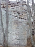 Rock Climbing Photo: The tall E face of the Tristar boulder showing Blo...