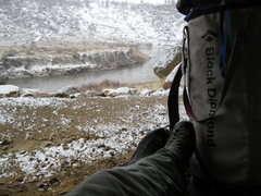 Rock Climbing Photo: Chillin in a cave while the snow falls, the good l...